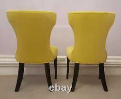 2 Dining Chairs-sweet Pea & Willow-upholstered In Designers Guild Yellow Velvet