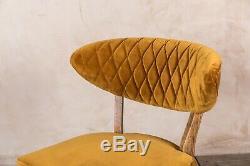 2 Mustard Yellow Velvet Upholstered Dining Chairs Curved Diamond Back
