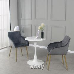 2 PCS Modern Velvet Fabric Upholstered Dining Chairs Armchairs Gold Metal Legs