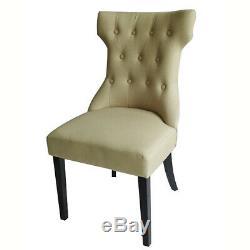 2 Pcs Dining Chairs High Back Upholstered Fabric Wood/Metal Leg Velvet Kitchen