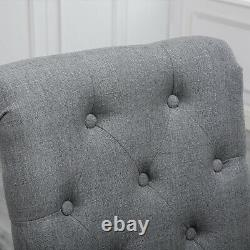 2 Pcs Grey Dining Chairs Fabric Button Tufted Padded Seat Wood Legs Diningroom