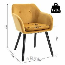 2 Pieces Modern Upholstered Fabric Bucket Seat Dining Room Armchairs Yellow