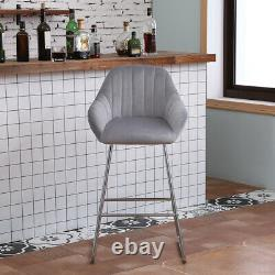 2 Velvet Bar Stools Kitchen High Chair Breakfast Kitchen Restaurant Dining Room