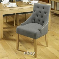 2 x Baumhaus OAK LEG Upholstered Grey Dining Chairs (SRP £259) 4 PAIRS AVAILABLE