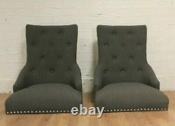 2 x Baumhaus WALNUT Upholstered Grey Dining Chairs (SRP £289) 4 PAIRS AVAILABLE