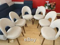 2 x Bentley Designs Oslo Walnut Linen Fabric Upholstered Dining Chairs