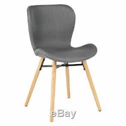 2 x Habitat ETTA CHAIR Grey Fabric Upholstered Dining Chair, Wooden Legs 781990