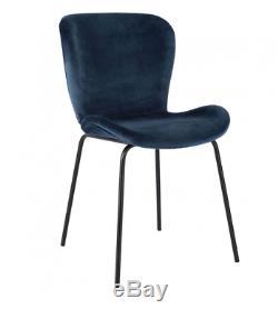 2 x Habitat ETTA Dark Blue Velvet Upholstered Dining Chair Bl Leg 781993 RRP£170