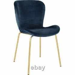 2 x Habitat Etta Home Dining Chair Upholstered Velvet Blue Brass Legs Set Pack