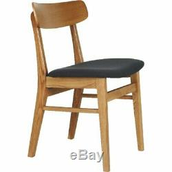 2 x Habitat VINCE Oak Dining Chair Charcoal Upholstered Seat 777505 RRP £300