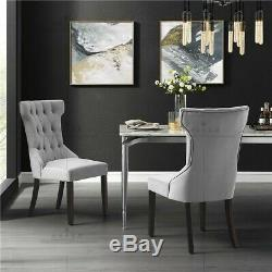 2 x Linen Fabric Dining Chairs Tufted Upholstered Kitchen Chairs Wood Legs Grey