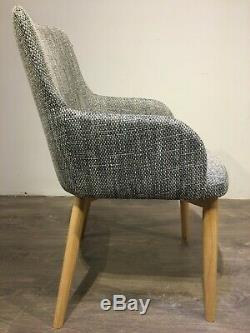 2 x Riley Grey Upholstered Dining Chair with Oak Wooden Legs Pair Retro Tub