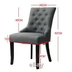 2x/4x Grey Upholstered Dining Chairs Comfort Fabric Button Back with Dark Legs