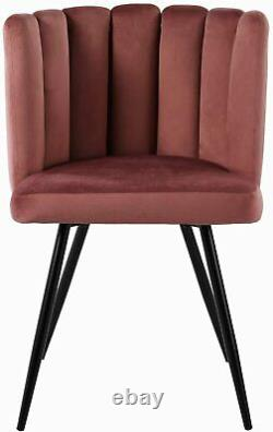 2x Armchair Velvet Upholstered Oyster Shell Occasional Tub Chair for Living Room