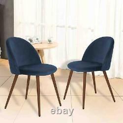 2x Blue Velvet Upholstered Dining Chair With Walnut Legs