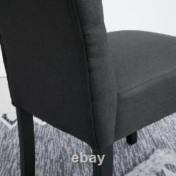 2x Dark Grey Button Tufted High Back Dining Chairs Fabric Upholstered Kitchen