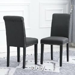 2x Dark Grey Dining Chairs Upholstered Fabric with Rivets Wood Legs Diningroom