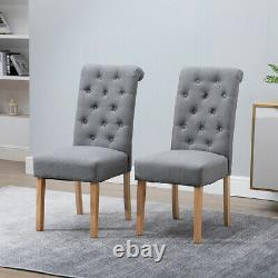 2x Dining Chairs Button Tufted High Back Padded Seat Grey Kitchen Office Home BN