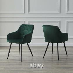 2x Dining Chairs Set Upholstered Lint Metal Legs Reception Accent Chair Armchair