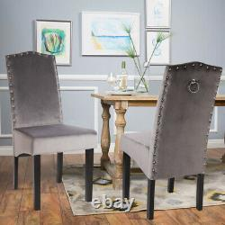 2x Dining Chairs Tufted Velvet/Fabric Studded Chair Upholstered Accent Wood Legs
