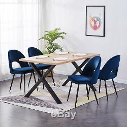 2x Dining Chairs Velvet Fabric Upholstered High Back Black Metal Legs Kitchen UK