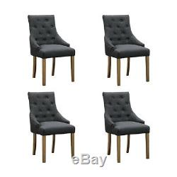 2x Grey Curved Button Tufted Dining Chairs Fabric Upholstered Accent Dining Room