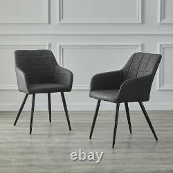 2x PU Dining Chairs Set Faux Leather Upholstered Armrest Metal Legs Tub Armchair