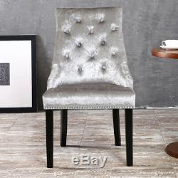 2x Silver Crushed Grey Velvet Dining Chair Button Ring Back Upholstered Armchair