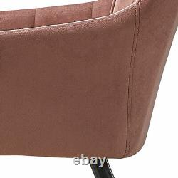 2x Upholstered Dining Chair Set Lint Fabric Armchair Sofa Metal Legs Tub Chair