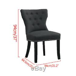 2x Wing Back Dining Chairs Fabric Upholstered Accent Dining Room Bedroom Kitchen