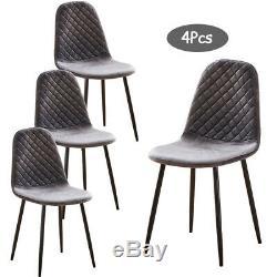 4Pcs Argyle Velvet Dining Chairs Metal Leg Side Chair Fabric Upholstered Kitchen