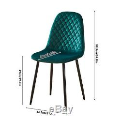 4Pcs Argyle Velvet Dining Chairs Metal Leg Side Chair Fabric Upholstered Kitchen