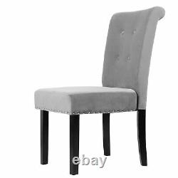4Pcs Gray Velvet Dining Chair with Knocker/Ring Back Dining Room Kitchen Chairs