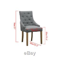 4Pcs Grey Dining Chairs Armchair Button Tufted Fabric Upholstered Home Furniture
