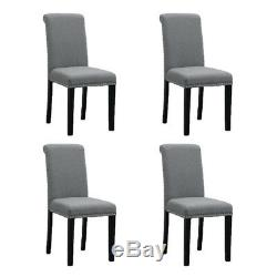 4Pcs Grey High Back Dining Chairs Fabric Upholstered Rivets Kitchen Dining Room