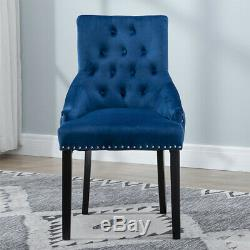4Pcs Velvet Knocker Accent Button Tufted Dining Chair Upholstered Studded Chairs