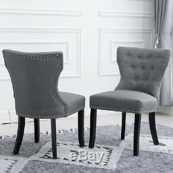 4Pcs Wing Back Dining Chairs Fabric Upholstered Accent Dining Room Kitchen Gray