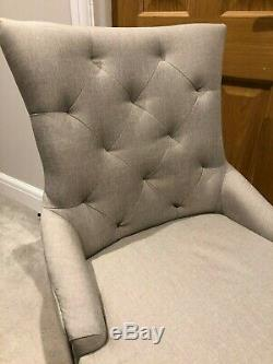 4 Dining Chair Set Beige/Grey Fabric Upholstered, Chesterfield Style