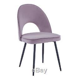 4 Dining Chair Velvet Fabric Upholstered Seat 5 Color Metal Leg Dressing Kitchen