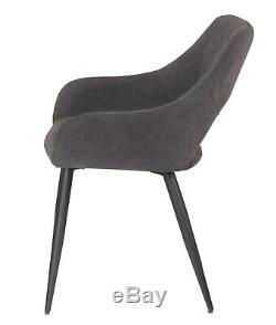 4 Dining Chair With Armrest Upholstered Seat Metal Leg Counter Lounge Armchair