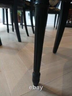 4 Dining Chairs Black Gold
