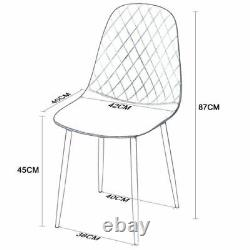 4 Faux Leather Upholstered Dining Chairs Modern Diamond Black Metal Legs Kitchen