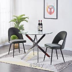 4 Grey Dining Chair Velvet Material Upholstered Seat Black Leg New Design Kitche