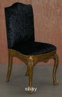 4 Louis Philippe Gold Gilt Black Velvet Upholstered Claw & Ball Dining Chairs