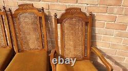 4 Lovely Antique upholstered chairs with cane back