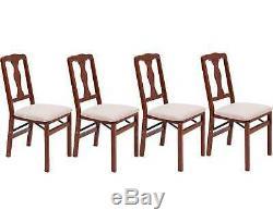 4 Luxury Folding Dining Chairs Mahogany Hardwood Wooden Upholstered Fold Flat