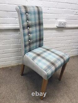 4 Multiyork Dining Chairs newly upholstered In Checked Fabric