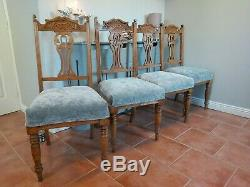 4 Oak Vintage Quality Newly upholstered Grey Velvet Dining Chairs Can Deliver