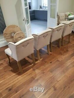 4 RIVIERA MAISON Upholstered WING BACK DINING CHAIRS