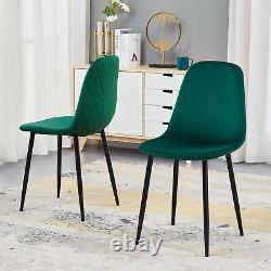 4 Velvet Upholstered Dining Chairs Retro Accent Diamond Black Metal Legs Kitchen
